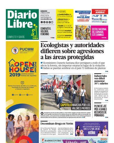 Portada Periódico Diario Libre, Sábado 02 de Marzo 2019