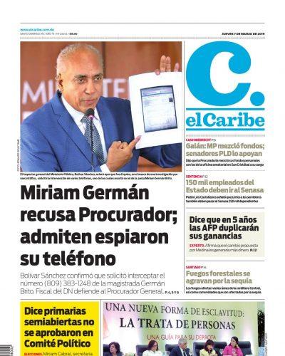 Portada Periódico El Caribe, Jueves 07 de Marzo 2019