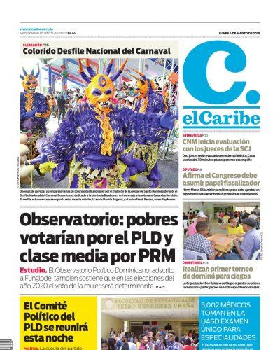 Portada Periódico El Caribe, Lunes 04 de Marzo 2019