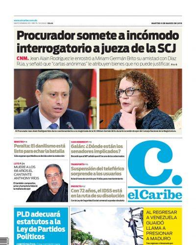 Portada Periódico El Caribe, Martes 05 de Marzo 2019