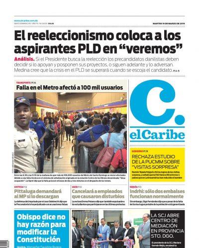 Portada Periódico El Caribe, Martes 19 de Marzo 2019