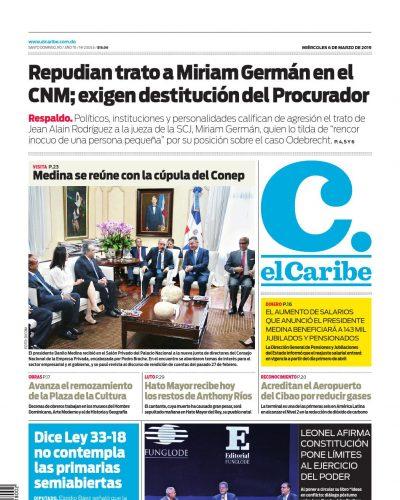 Portada Periódico El Caribe, Miércoles 06 de Marzo 2019