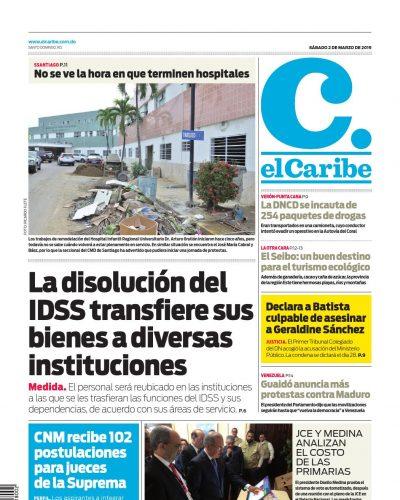 Portada Periódico El Caribe, Sábado 02 de Marzo 2019