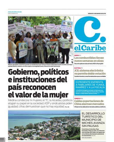 Portada Periódico El Caribe, Sábado 08 de Marzo 2019