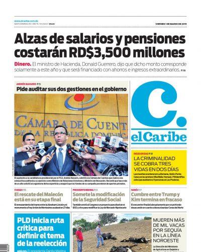 Portada Periódico El Caribe, Viernes 01 de Marzo 2019