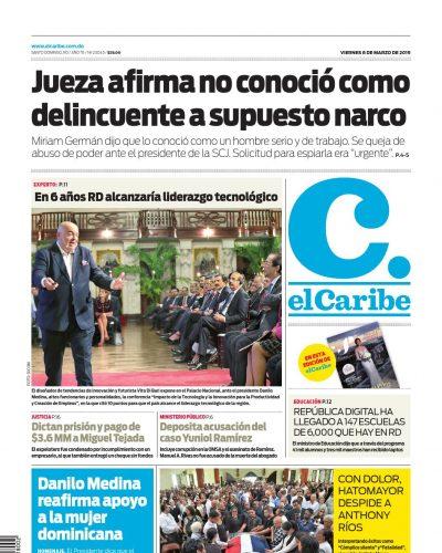 Portada Periódico El Caribe, Viernes 08 de Marzo 2019