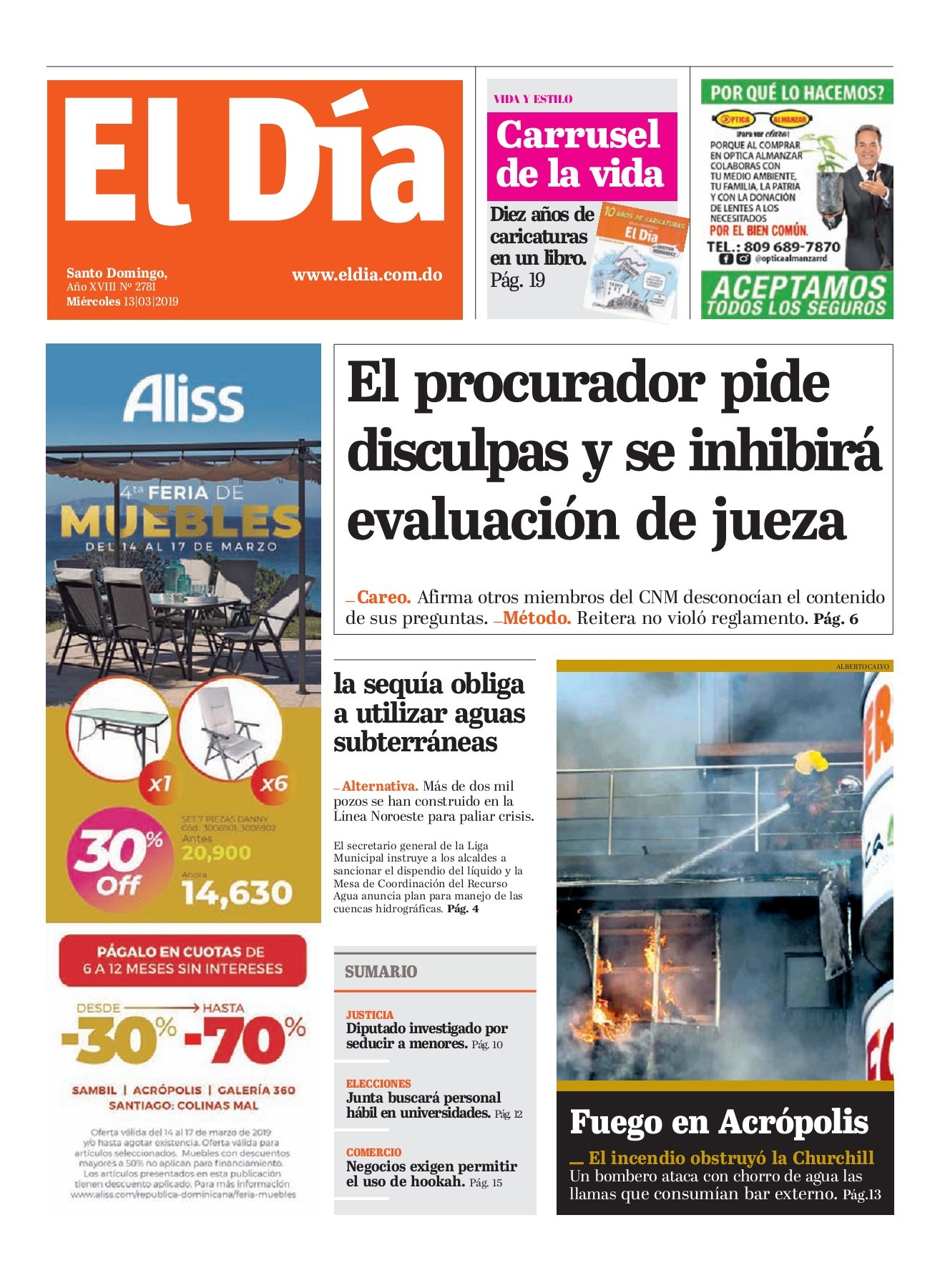 Portada Periódico El Día, Miércoles 13 de Marzo 2019