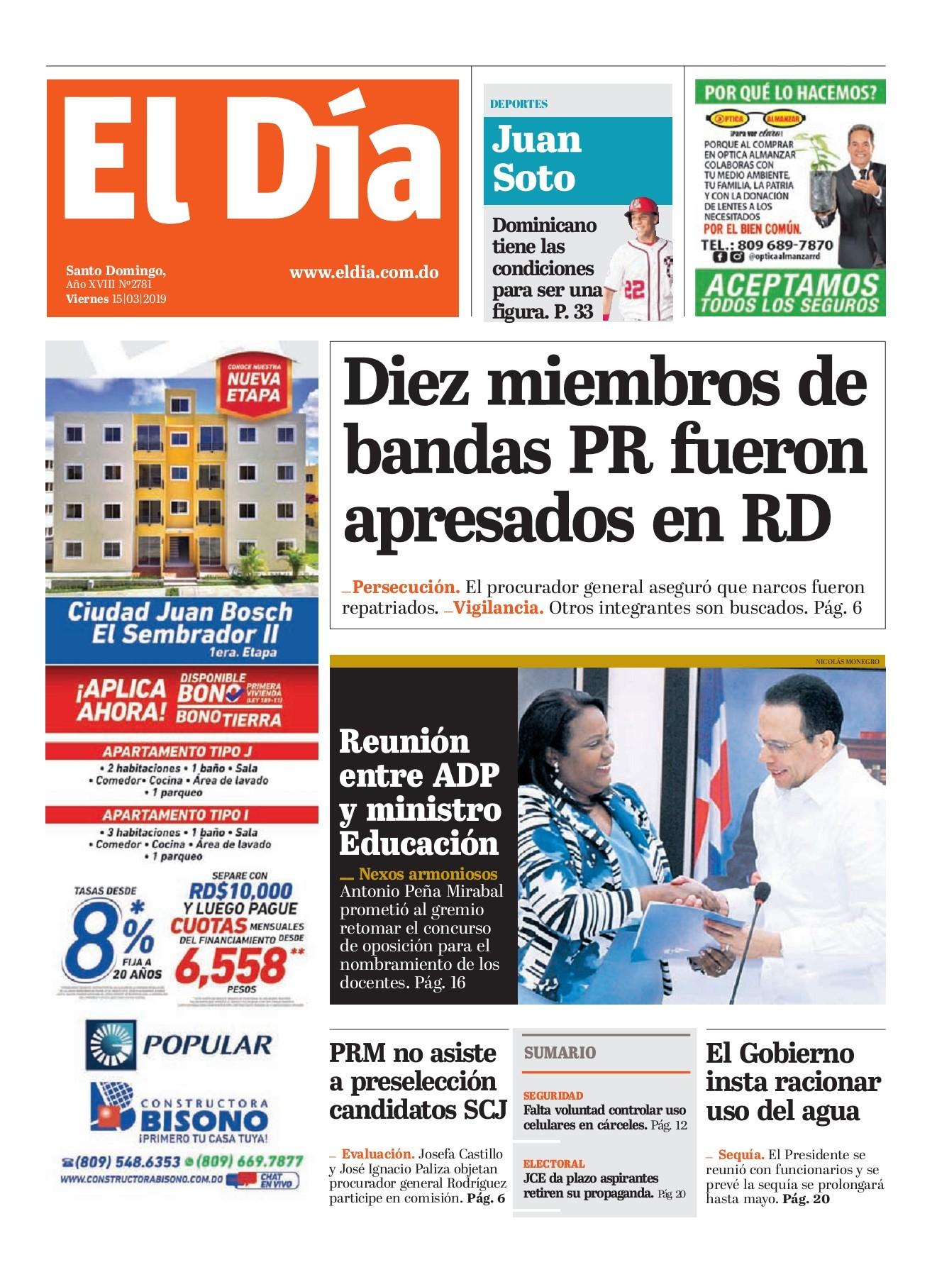 Portada Periódico El Día, Viernes 15 de Marzo 2019