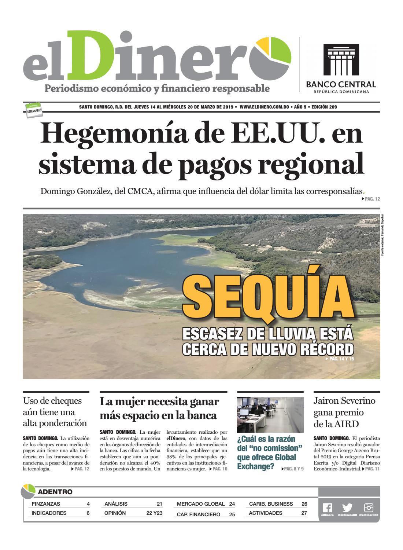 Portada Periódico El Dinero, Jueves 14 de Marzo 2019