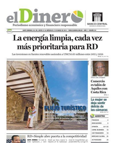 Portada Periódico El Dinero, Jueves 21 de Marzo 2019