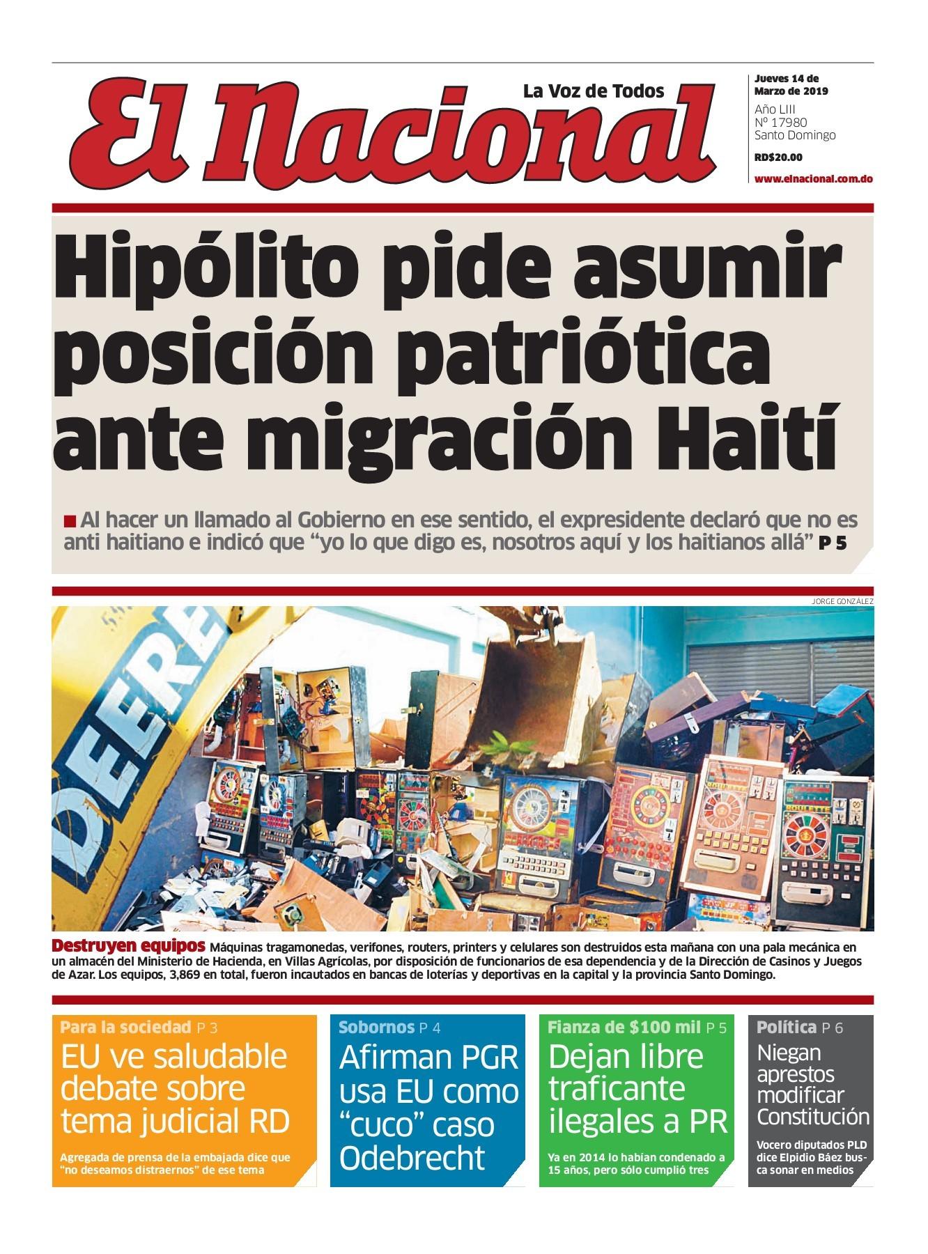 Portada Periódico El Nacional, Jueves 14 de Marzo 2019