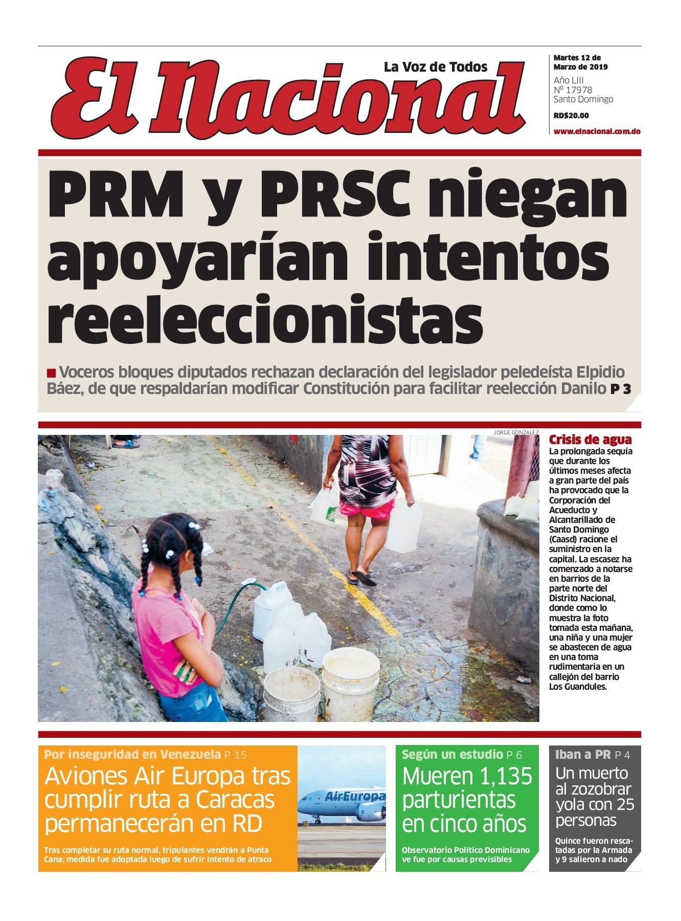 Portada Periódico El Nacional, Martes 12 de Marzo 2019
