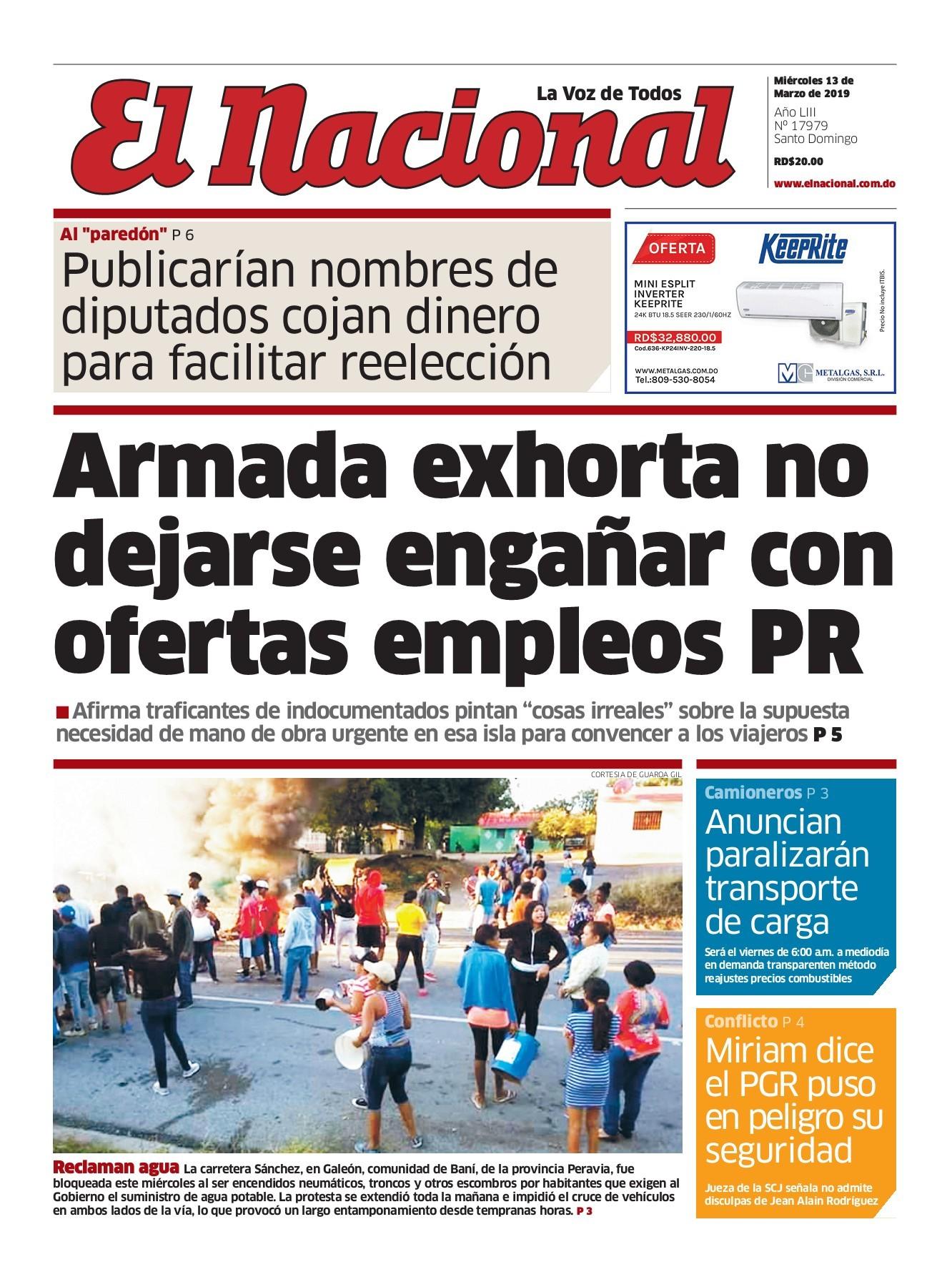 Portada Periódico El Nacional, Miércoles 13 de Marzo 2019