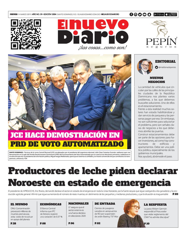 Portada Periódico El Nuevo Diario, Jueves 14 de Marzo 2019