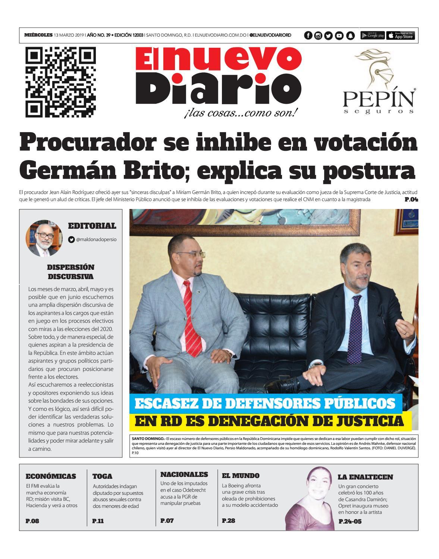 Portada Periódico El Nuevo Diario, Miércoles 13 de Marzo 2019