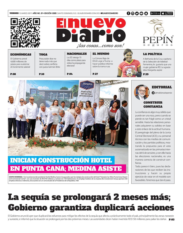 Portada Periódico El Nuevo Diario, Viernes 15 de Marzo 2019