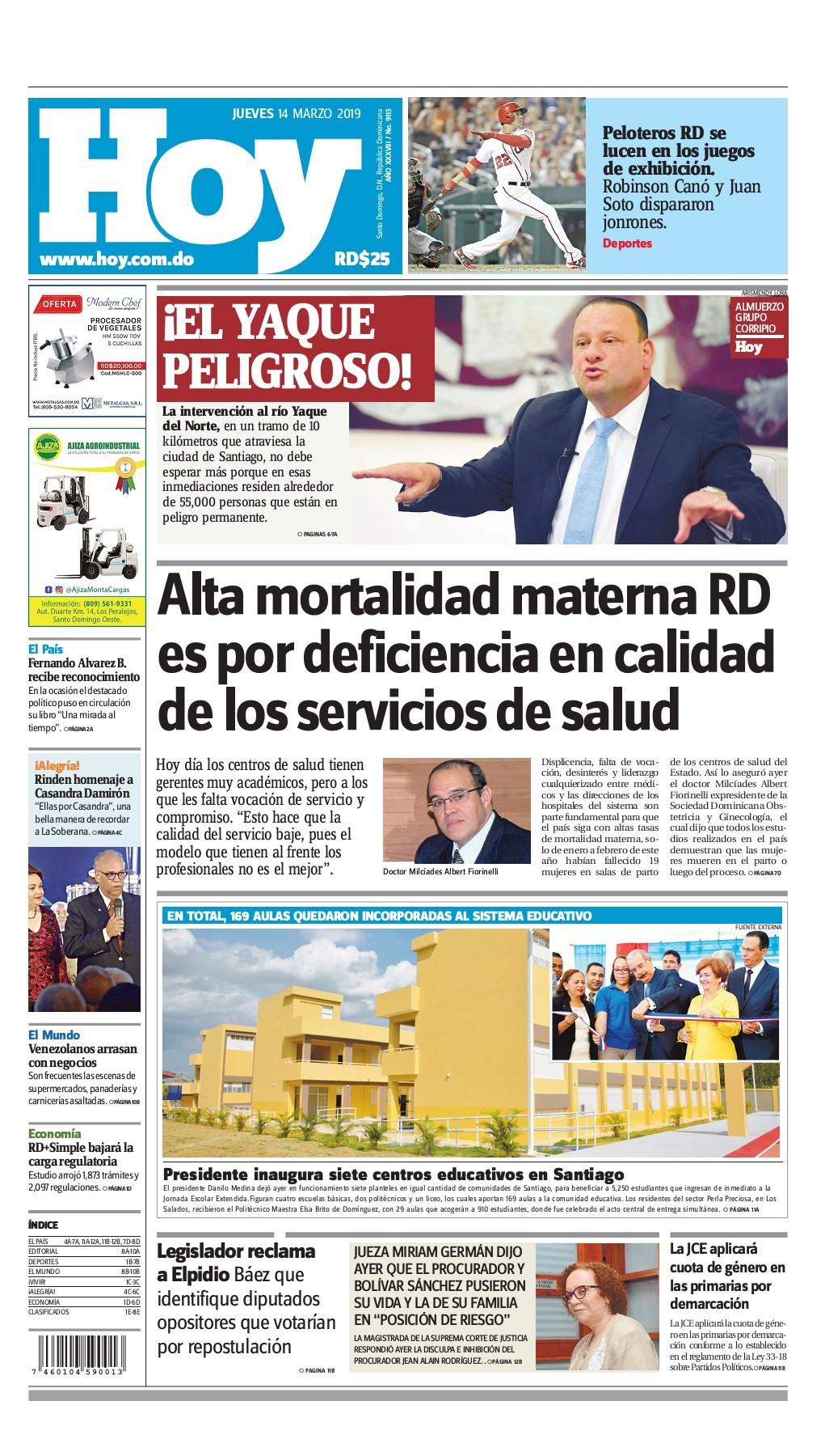 Portada Periódico Hoy, Jueves 14 de Marzo 2019