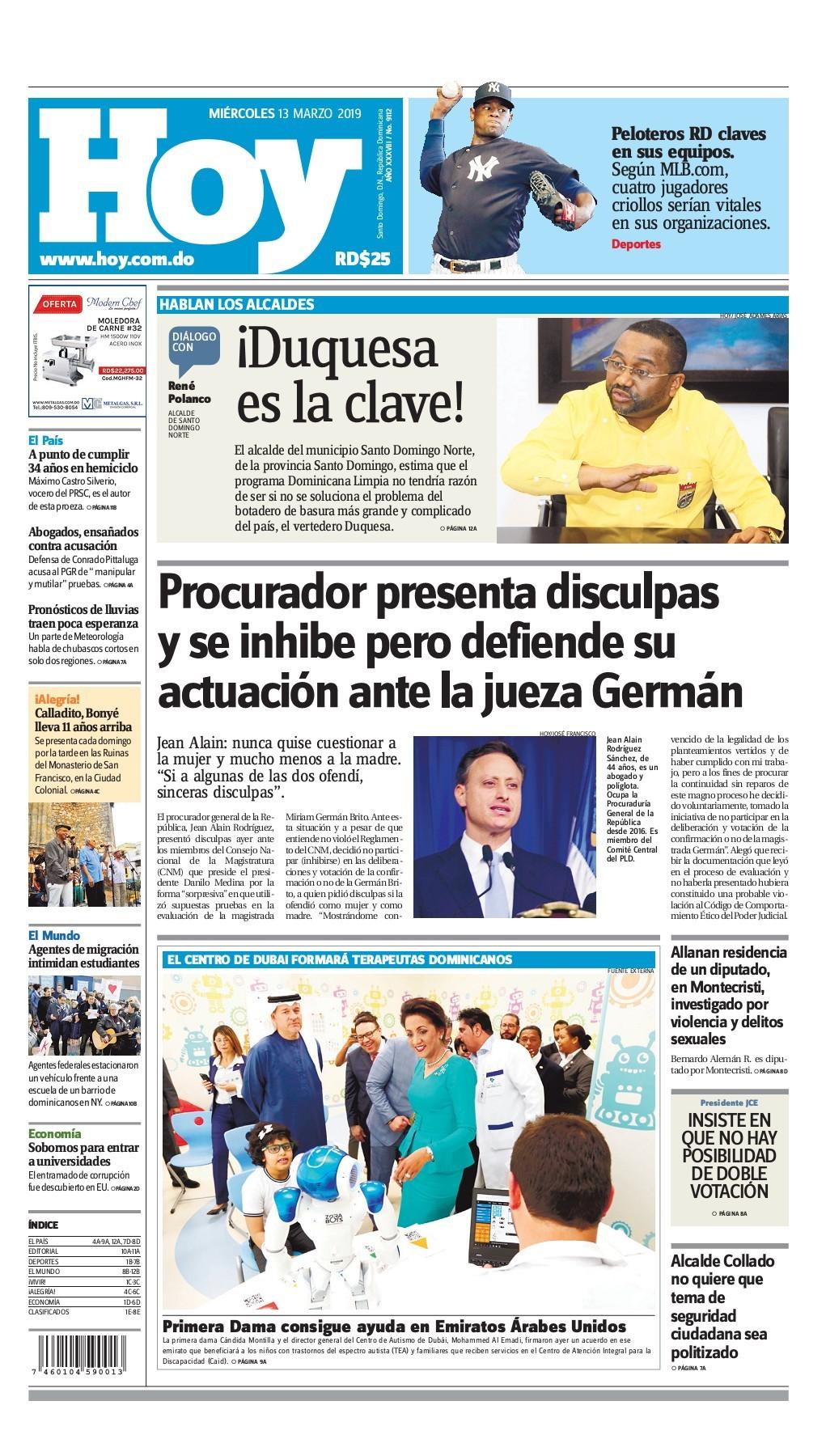 Portada Periódico Hoy, Miércoles 13 de Marzo 2019