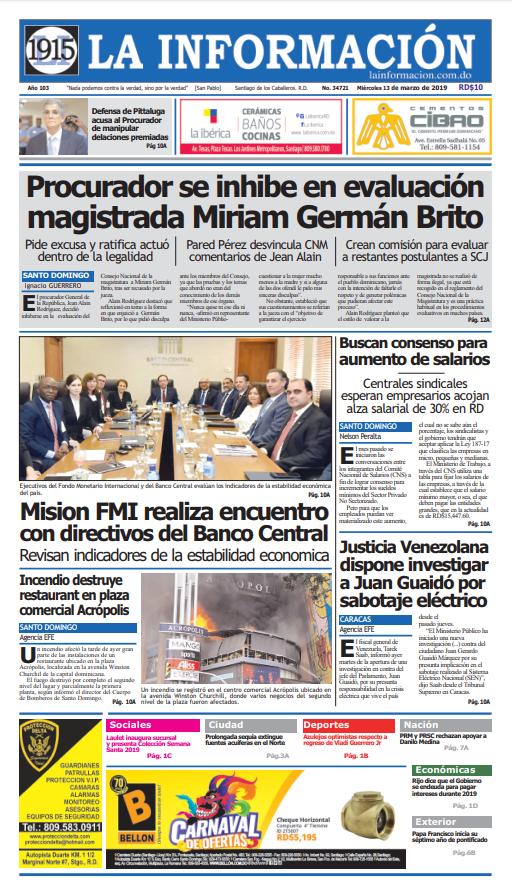 Portada Periódico La Información, Miércoles 13 de Marzo 2019