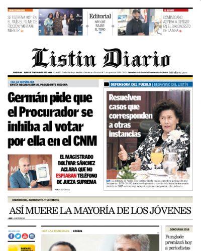 Portada Periódico Listín Diario, Jueves 07 de Marzo 2019