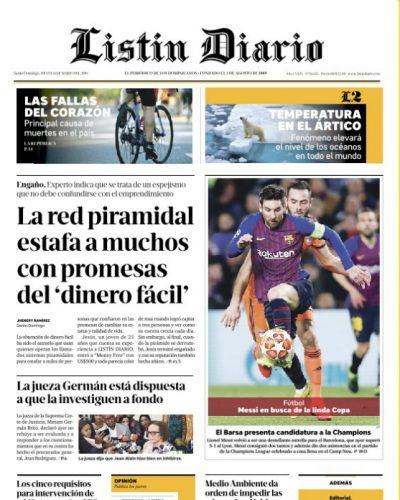 Portada Periódico Listín Diario, Jueves 14 de Marzo 2019