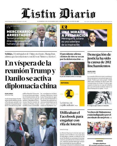 Portada Periódico Listín Diario, Jueves 21 de Marzo 2019