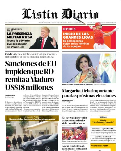 Portada Periódico Listín Diario, Jueves 28 de Marzo 2019