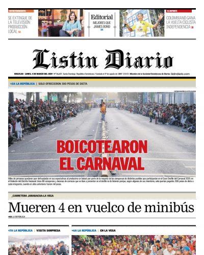 Portada Periódico Listín Diario, Lunes 04 de Marzo 2019