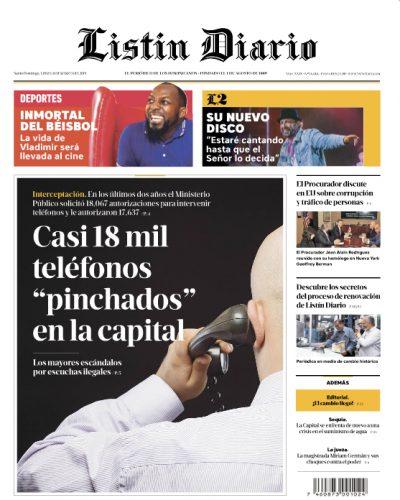 Portada Periódico Listín Diario, Lunes 11 de Marzo 2019