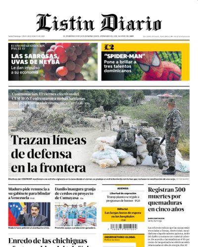 Portada Periódico Listín Diario, Lunes 18 de Marzo 2019
