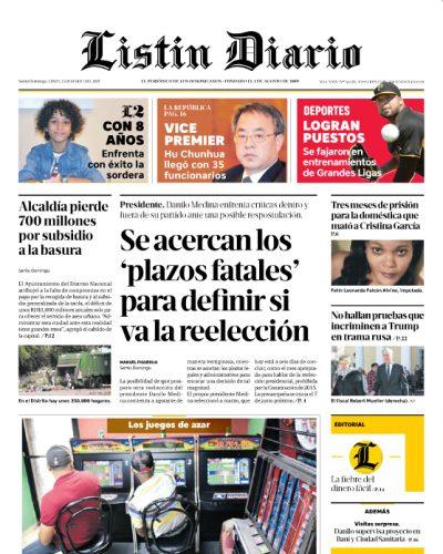 Portada Periódico Listín Diario, Lunes 25 de Marzo 2019