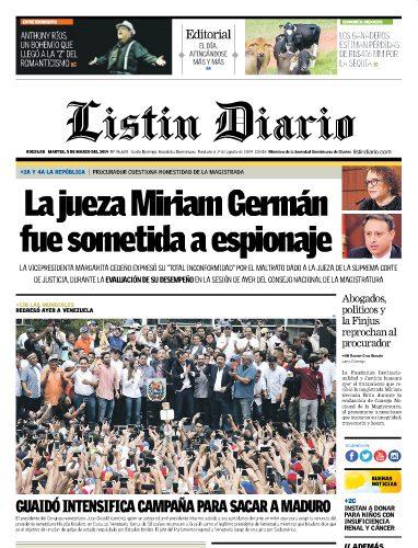Portada Periódico Listín Diario, Martes 05 de Marzo 2019