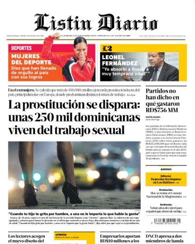 Portada Periódico Listín Diario, Martes 12 de Marzo 2019