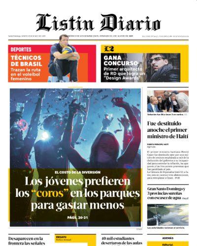 Portada Periódico Listín Diario, Martes 19 de Marzo 2019
