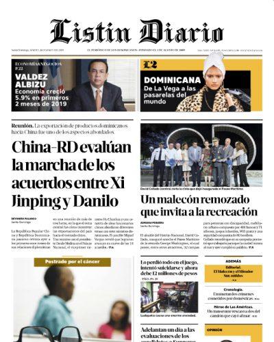 Portada Periódico Listín Diario, Martes 26 de Marzo 2019