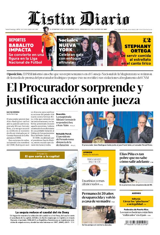 Portada Periódico Listín Diario, Miércoles 13 de Marzo 2019