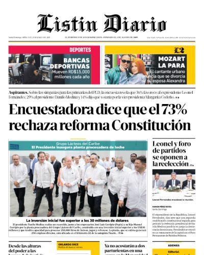 Portada Periódico Listín Diario, Miércoles 27 de Marzo 2019