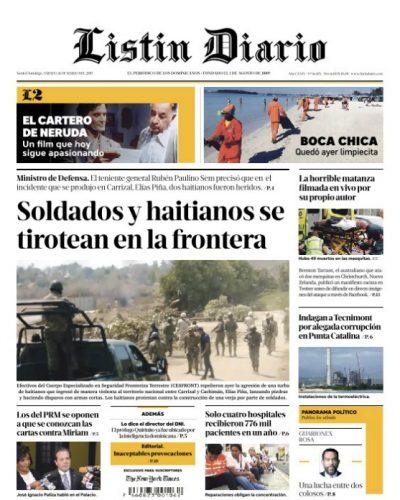 Portada Periódico Listín Diario, Sábado 16 de Marzo 2019