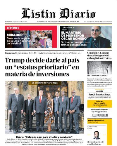 Portada Periódico Listín Diario, Sábado 23 de Marzo 2019
