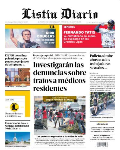 Portada Periódico Listín Diario, Sábado 30 de Marzo 2019