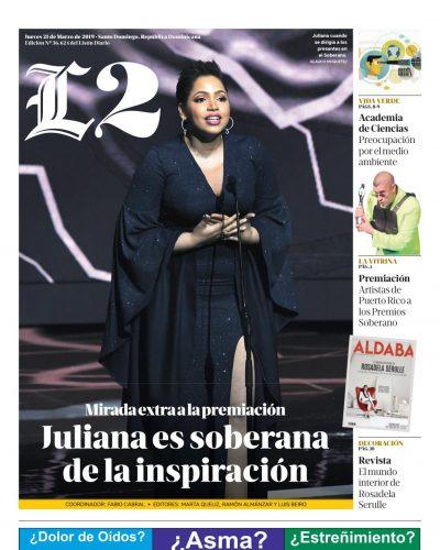 Portada Periódico Listín Diario – Sección L2, Jueves 21 de Marzo 2019