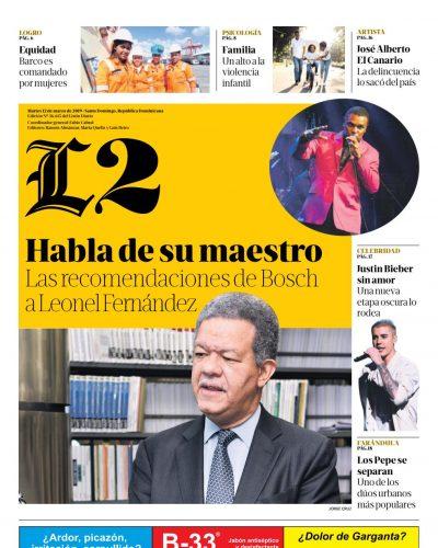 Portada Periódico Listín Diario – Sección L2, Martes 12 de Marzo 2019