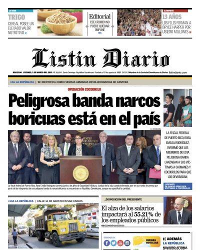 Portada Periódico Listín Diario, Viernes 01 de Marzo 2019