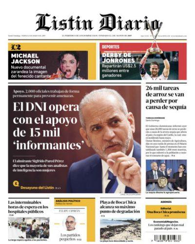 Portada Periódico Listín Diario, Viernes 15 de Marzo 2019