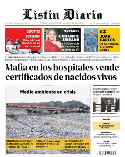 Portada Periódico Listín Diario, Viernes 22 de Marzo 2019