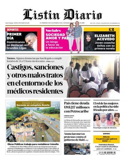 Portada Periódico Listín Diario, Viernes 29 de Marzo 2019