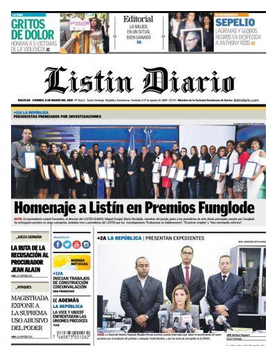 Portada Periódico Listin Diario, Viernes 08 de Marzo 2019