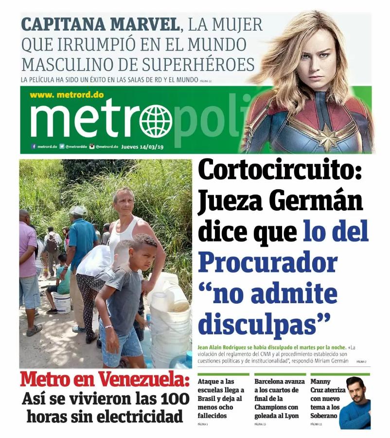 Portada Periódico Metro, Jueves 14 de Marzo 2019