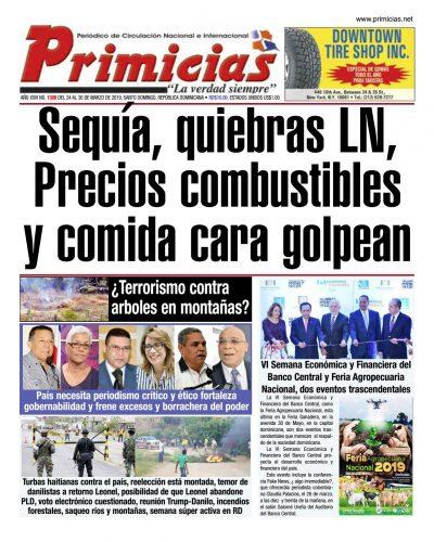 Portada Periódico Primicias, Domingo 24 de Marzo 2019