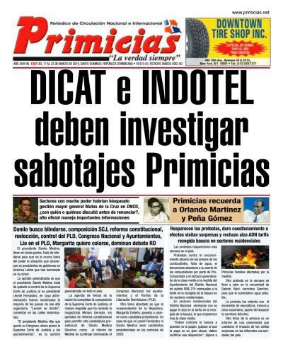 Portada Periódico Primicias, Lunes 18 de Marzo 2019
